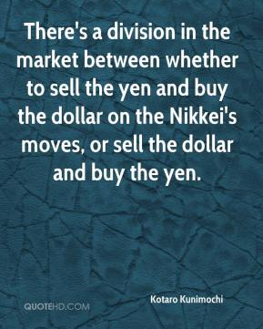 Kotaro Kunimochi  - There's a division in the market between whether to sell the yen and buy the dollar on the Nikkei's moves, or sell the dollar and buy the yen.
