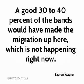 A good 30 to 40 percent of the bands would have made the migration up here, which is not happening right now.