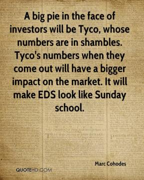 Marc Cohodes  - A big pie in the face of investors will be Tyco, whose numbers are in shambles. Tyco's numbers when they come out will have a bigger impact on the market. It will make EDS look like Sunday school.