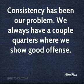 Mike Pica  - Consistency has been our problem. We always have a couple quarters where we show good offense.
