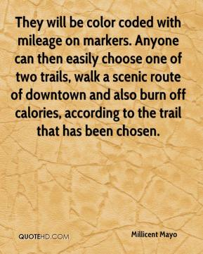 Millicent Mayo  - They will be color coded with mileage on markers. Anyone can then easily choose one of two trails, walk a scenic route of downtown and also burn off calories, according to the trail that has been chosen.