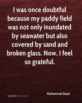 Muhammad Daud  - I was once doubtful because my paddy field was not only inundated by seawater but also covered by sand and broken glass. Now, I feel so grateful.