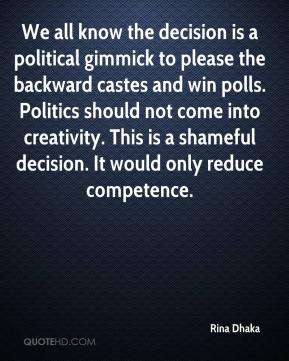Rina Dhaka  - We all know the decision is a political gimmick to please the backward castes and win polls. Politics should not come into creativity. This is a shameful decision. It would only reduce competence.