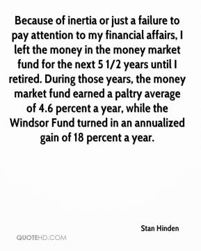 Stan Hinden  - Because of inertia or just a failure to pay attention to my financial affairs, I left the money in the money market fund for the next 5 1/2 years until I retired. During those years, the money market fund earned a paltry average of 4.6 percent a year, while the Windsor Fund turned in an annualized gain of 18 percent a year.