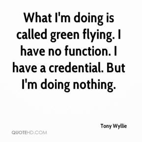 Tony Wyllie  - What I'm doing is called green flying. I have no function. I have a credential. But I'm doing nothing.