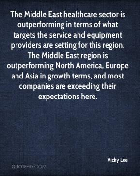 Vicky Lee  - The Middle East healthcare sector is outperforming in terms of what targets the service and equipment providers are setting for this region. The Middle East region is outperforming North America, Europe and Asia in growth terms, and most companies are exceeding their expectations here.