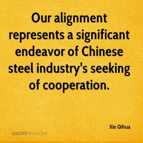 Our alignment represents a significant endeavor of Chinese steel industry's seeking of cooperation.
