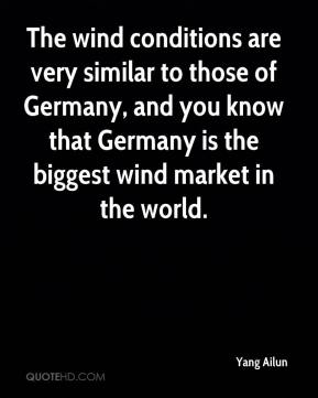Yang Ailun  - The wind conditions are very similar to those of Germany, and you know that Germany is the biggest wind market in the world.