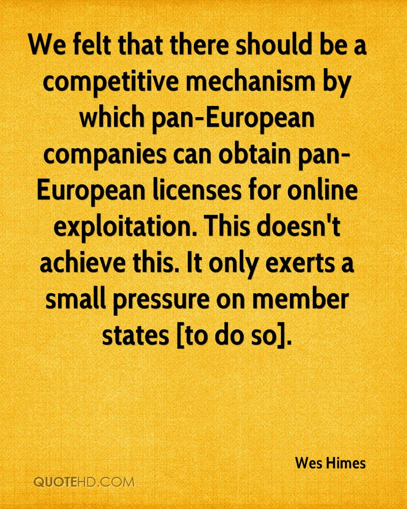 We felt that there should be a competitive mechanism by which pan-European companies can obtain pan-European licenses for online exploitation. This doesn't achieve this. It only exerts a small pressure on member states [to do so].