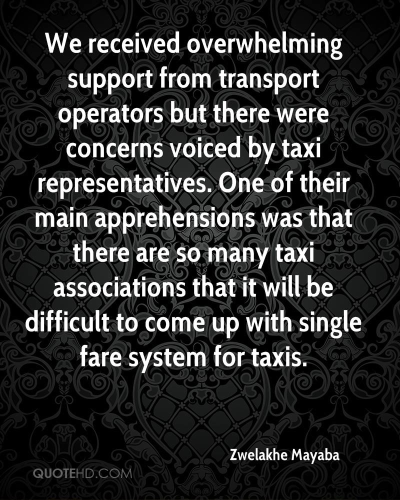 We received overwhelming support from transport operators but there were concerns voiced by taxi representatives. One of their main apprehensions was that there are so many taxi associations that it will be difficult to come up with single fare system for taxis.
