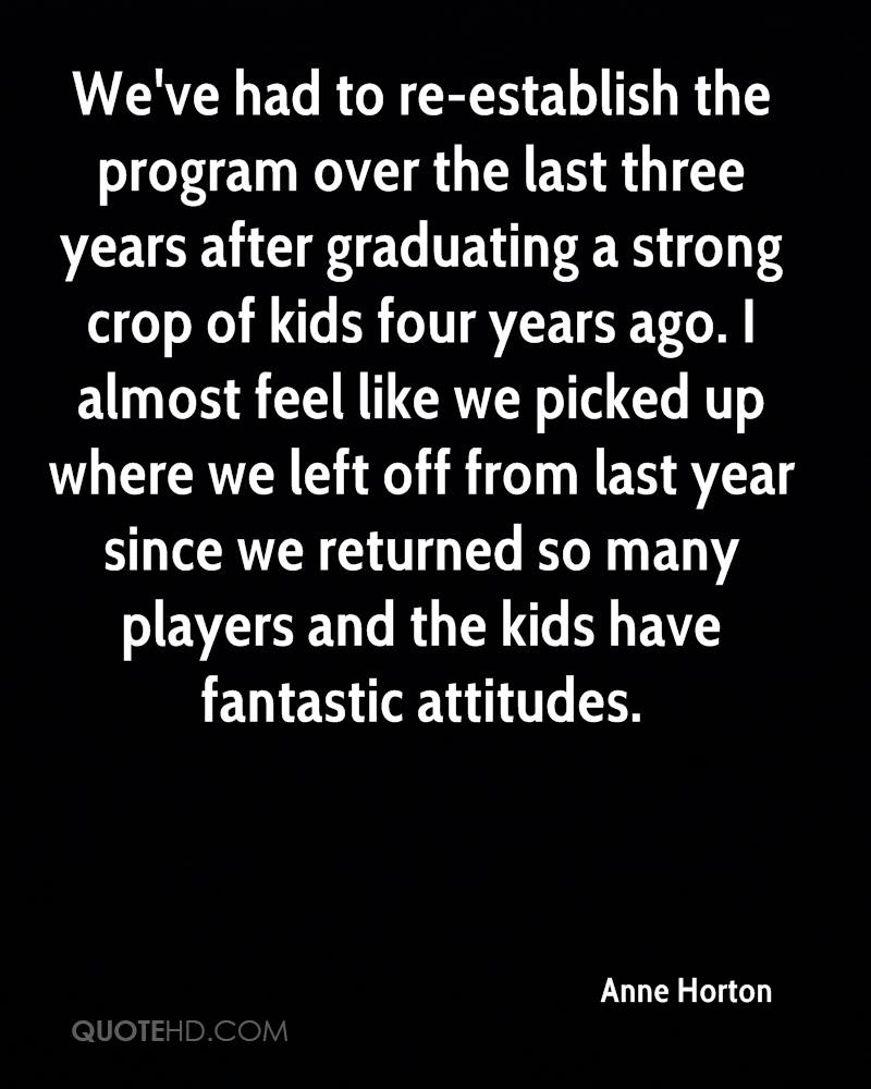 We've had to re-establish the program over the last three years after graduating a strong crop of kids four years ago. I almost feel like we picked up where we left off from last year since we returned so many players and the kids have fantastic attitudes.