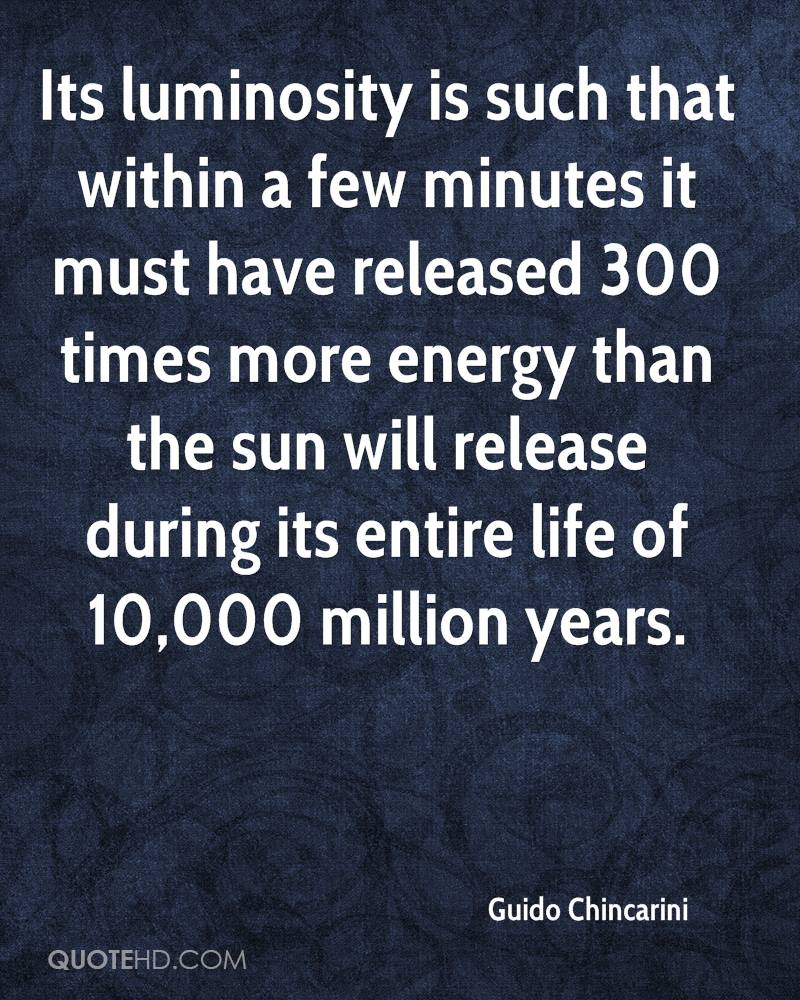 Its luminosity is such that within a few minutes it must have released 300 times more energy than the sun will release during its entire life of 10,000 million years.