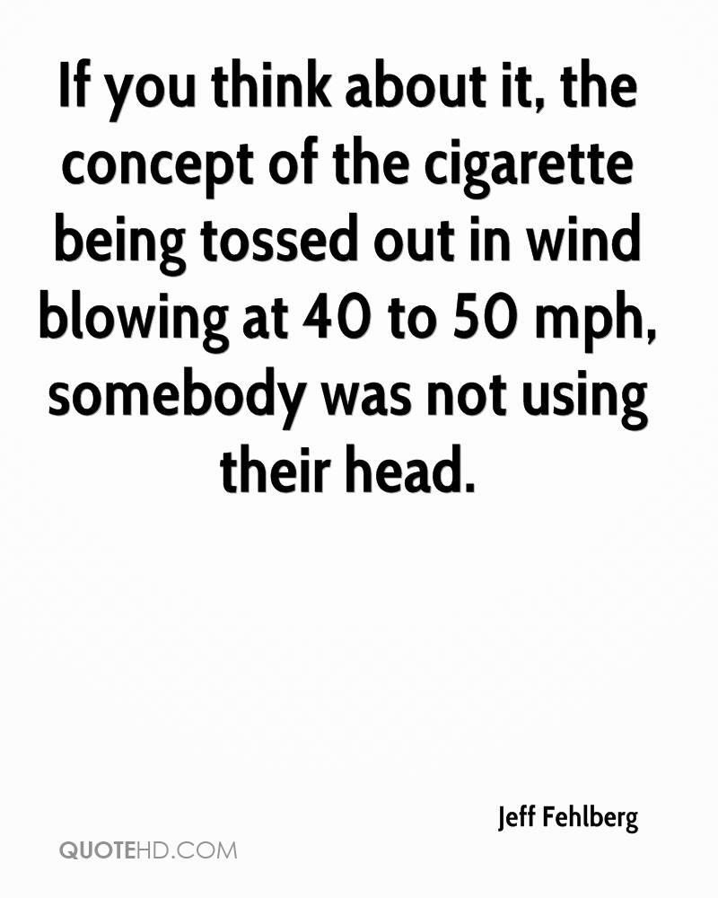If you think about it, the concept of the cigarette being tossed out in wind blowing at 40 to 50 mph, somebody was not using their head.