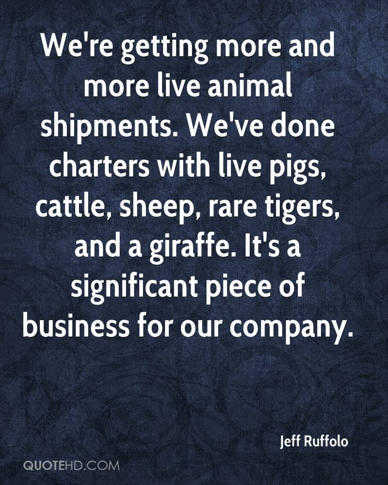 We're getting more and more live animal shipments. We've done charters with live pigs, cattle, sheep, rare tigers, and a giraffe. It's a significant piece of business for our company.