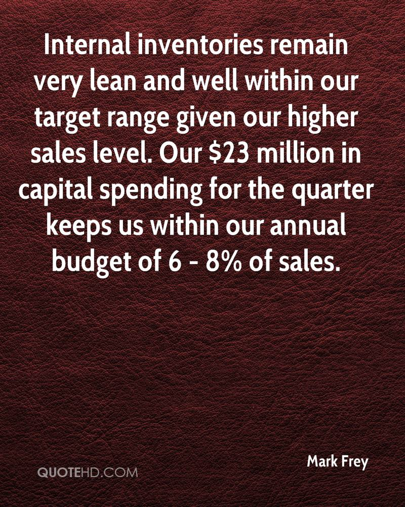 Internal inventories remain very lean and well within our target range given our higher sales level. Our $23 million in capital spending for the quarter keeps us within our annual budget of 6 - 8% of sales.