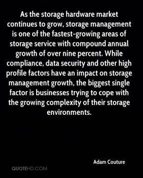 Adam Couture - As the storage hardware market continues to grow, storage management is one of the fastest-growing areas of storage service with compound annual growth of over nine percent. While compliance, data security and other high profile factors have an impact on storage management growth, the biggest single factor is businesses trying to cope with the growing complexity of their storage environments.