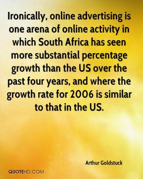 Arthur Goldstuck - Ironically, online advertising is one arena of online activity in which South Africa has seen more substantial percentage growth than the US over the past four years, and where the growth rate for 2006 is similar to that in the US.