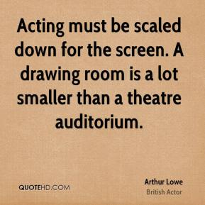Arthur Lowe - Acting must be scaled down for the screen. A drawing room is a lot smaller than a theatre auditorium.