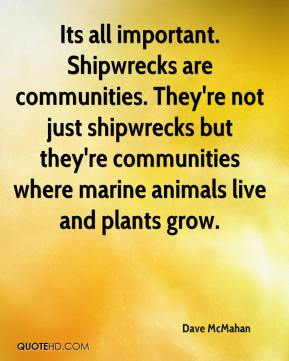 Dave McMahan - Its all important. Shipwrecks are communities. They're not just shipwrecks but they're communities where marine animals live and plants grow.