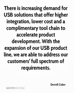 Derrell Coker - There is increasing demand for USB solutions that offer higher integration, lower cost and a complimentary tool chain to accelerate product development. With the expansion of our USB product line, we are able to address our customers' full spectrum of requirements.