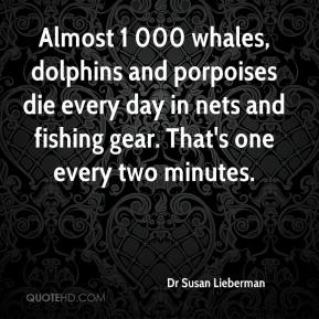 Dr Susan Lieberman - Almost 1 000 whales, dolphins and porpoises die every day in nets and fishing gear. That's one every two minutes.