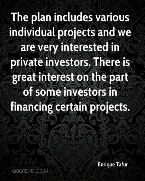 The plan includes various individual projects and we are very interested in private investors. There is great interest on the part of some investors in financing certain projects.