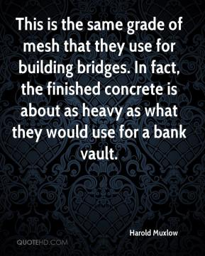 Harold Muxlow - This is the same grade of mesh that they use for building bridges. In fact, the finished concrete is about as heavy as what they would use for a bank vault.