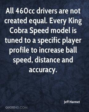 Jeff Harmet  - All 460cc drivers are not created equal. Every King Cobra Speed model is tuned to a specific player profile to increase ball speed, distance and accuracy.