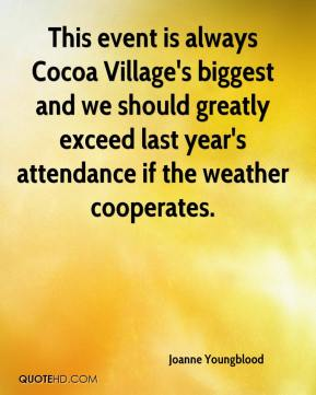 Joanne Youngblood  - This event is always Cocoa Village's biggest and we should greatly exceed last year's attendance if the weather cooperates.