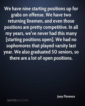 Joey Florence  - We have nine starting positions up for grabs on offense. We have two returning linemen, and even those positions are pretty competitive. In all my years, we've never had this many [starting positions open]. We had no sophomores that played varsity last year. We also graduated 50 seniors, so there are a lot of open positions.
