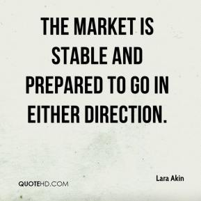 The market is stable and prepared to go in either direction.