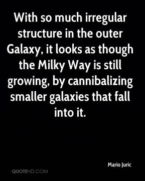 Mario Juric  - With so much irregular structure in the outer Galaxy, it looks as though the Milky Way is still growing, by cannibalizing smaller galaxies that fall into it.