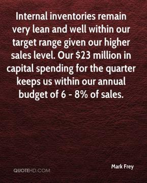 Mark Frey  - Internal inventories remain very lean and well within our target range given our higher sales level. Our $23 million in capital spending for the quarter keeps us within our annual budget of 6 - 8% of sales.