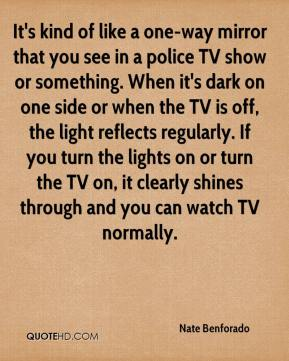Nate Benforado  - It's kind of like a one-way mirror that you see in a police TV show or something. When it's dark on one side or when the TV is off, the light reflects regularly. If you turn the lights on or turn the TV on, it clearly shines through and you can watch TV normally.