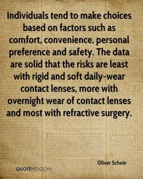 Oliver Schein  - Individuals tend to make choices based on factors such as comfort, convenience, personal preference and safety. The data are solid that the risks are least with rigid and soft daily-wear contact lenses, more with overnight wear of contact lenses and most with refractive surgery.