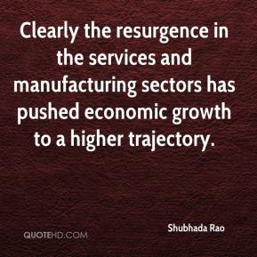 Shubhada Rao  - Clearly the resurgence in the services and manufacturing sectors has pushed economic growth to a higher trajectory.
