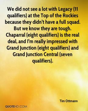 We did not see a lot with Legacy (11 qualifiers) at the Top of the Rockies because they didn't have a full squad. But we know they are tough. Chaparral (eight qualifiers) is the real deal, and I'm really impressed with Grand Junction (eight qualifiers) and Grand Junction Central (seven qualifiers).