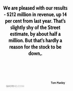 Tom Manley  - We are pleased with our results - $212 million in revenue, up 14 per cent from last year. That's slightly shy of the Street estimate, by about half a million. But that's hardly a reason for the stock to be down.