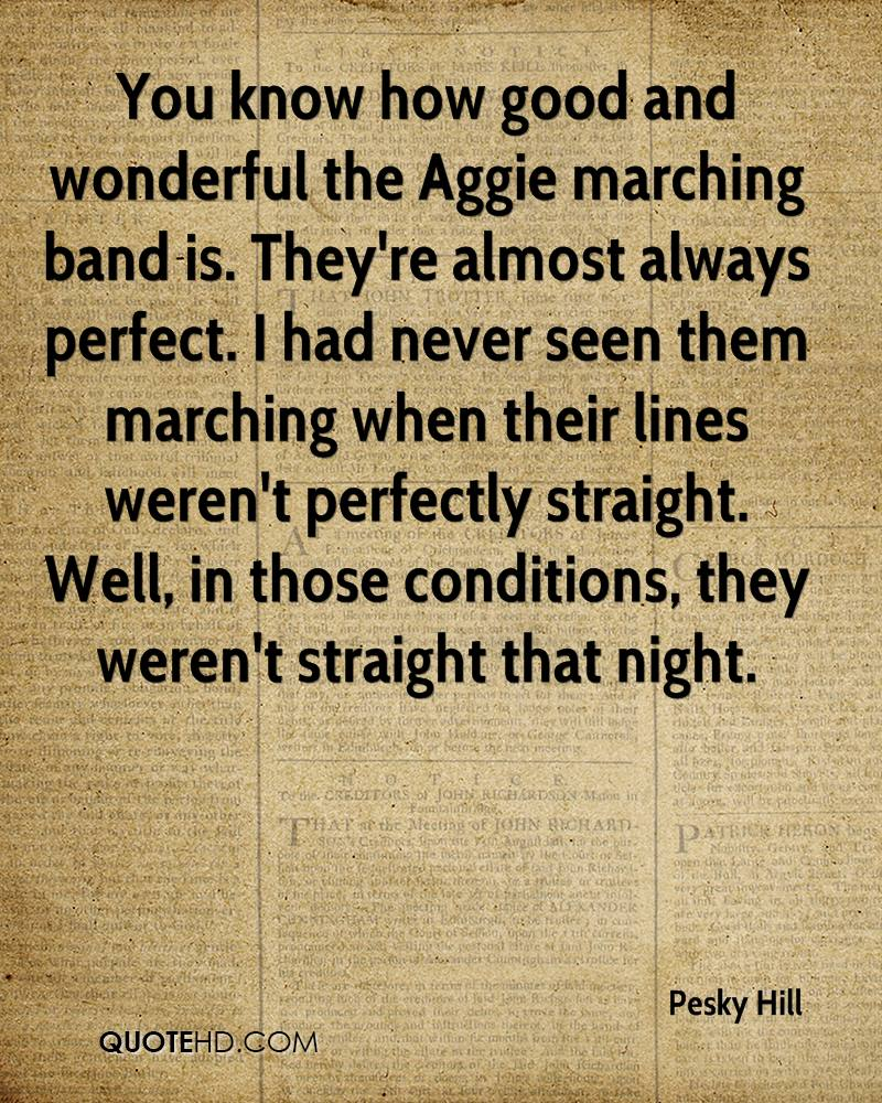 You know how good and wonderful the Aggie marching band is. They're almost always perfect. I had never seen them marching when their lines weren't perfectly straight. Well, in those conditions, they weren't straight that night.