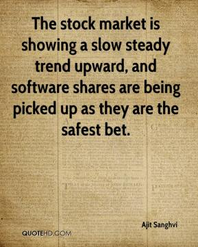 Ajit Sanghvi - The stock market is showing a slow steady trend upward, and software shares are being picked up as they are the safest bet.