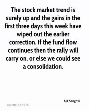 Ajit Sanghvi - The stock market trend is surely up and the gains in the first three days this week have wiped out the earlier correction. If the fund flow continues then the rally will carry on, or else we could see a consolidation.