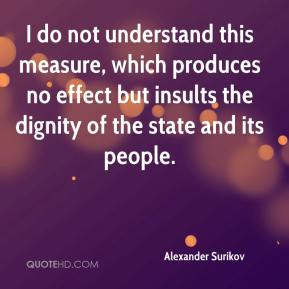 Alexander Surikov - I do not understand this measure, which produces no effect but insults the dignity of the state and its people.