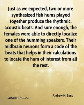 Andrew H. Bass - Just as we expected, two or more synthesized fish hums played together produce the rhythmic, acoustic beats. And sure enough, the females were able to directly localize one of the humming speakers. Their midbrain neurons form a code of the beats that helps in their calculations to locate the hum of interest from all the rest.