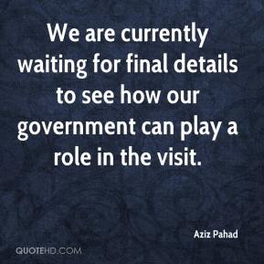 Aziz Pahad - We are currently waiting for final details to see how our government can play a role in the visit.
