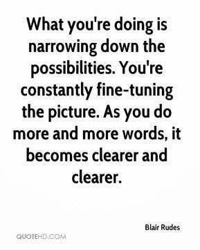 Blair Rudes - What you're doing is narrowing down the possibilities. You're constantly fine-tuning the picture. As you do more and more words, it becomes clearer and clearer.