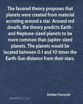 The favored theory proposes that planets were created from material accreting around a star. Around red dwarfs, the theory predicts Earth- and Neptune-sized planets to be more common than Jupiter-sized planets. The planets would be located between 0.1 and 10 times the Earth-Sun distance from their stars.