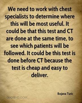 Bojana Turic - We need to work with chest specialists to determine where this will be most useful. It could be that this test and CT are done at the same time, to see which patients will be followed. It could be this test is done before CT because the test is cheap and easy to deliver.