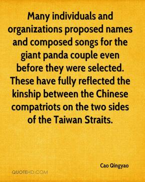 Cao Qingyao - Many individuals and organizations proposed names and composed songs for the giant panda couple even before they were selected. These have fully reflected the kinship between the Chinese compatriots on the two sides of the Taiwan Straits.