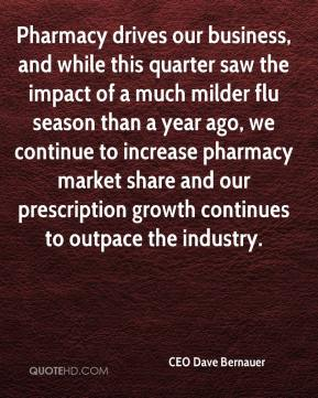 CEO Dave Bernauer - Pharmacy drives our business, and while this quarter saw the impact of a much milder flu season than a year ago, we continue to increase pharmacy market share and our prescription growth continues to outpace the industry.