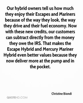 Christine Biondi - Our hybrid owners tell us how much they enjoy their Escapes and Mariners because of the way they look, the way they drive and their fuel economy. Now with these new credits, our customers can subtract directly from the money they owe the IRS. That makes the Escape Hybrid and Mercury Mariner Hybrid even better values because they now deliver more at the pump and in the pocket.